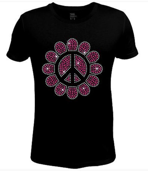 Rhinestone Womens T Shirt Peace in Sunflower JRW-559