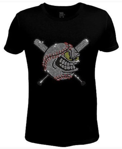 Bling Rhinestone Womens T Shirt Baseball Pissed Off JRW-339-sc