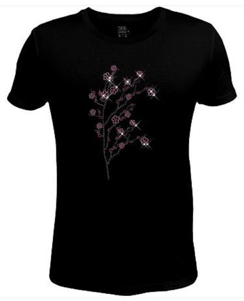 Rhinestone Womens T Shirt Plum Bloom JRW-590