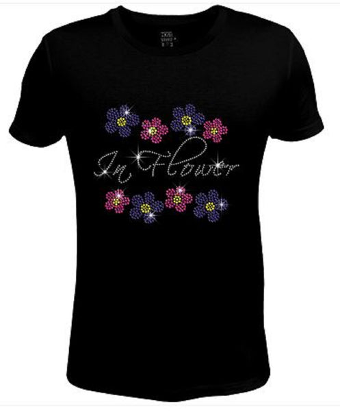 Rhinestone Womens T Shirt Pretty Flower JRW-571
