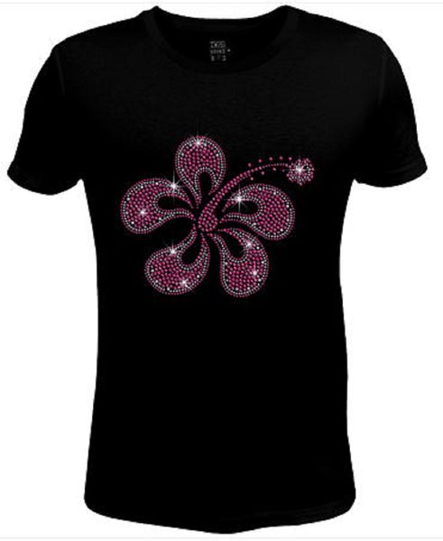Rhinestone Womens T Shirt Pretty Pink Flower JRW-574