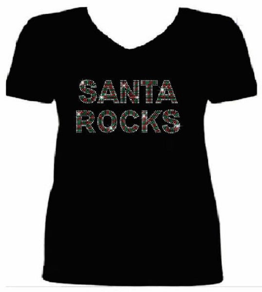 Bling Christmas Santa Rocks Women's t shirt XMA-324-SV