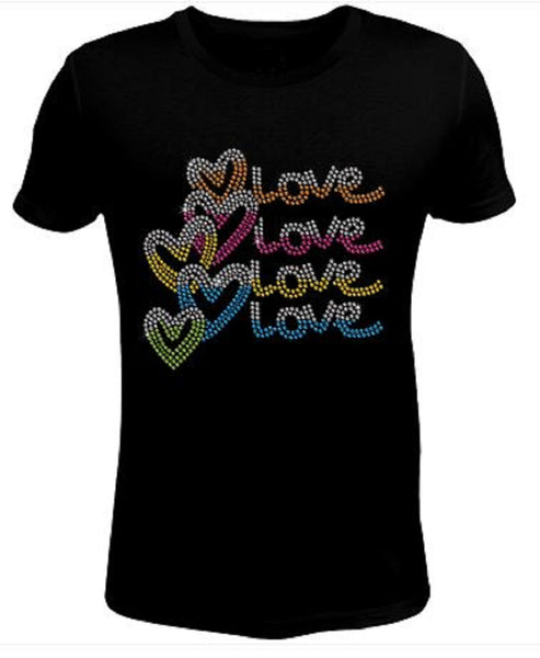 Bling Valentines Day Womens Love T Shirt CHI-429-SC
