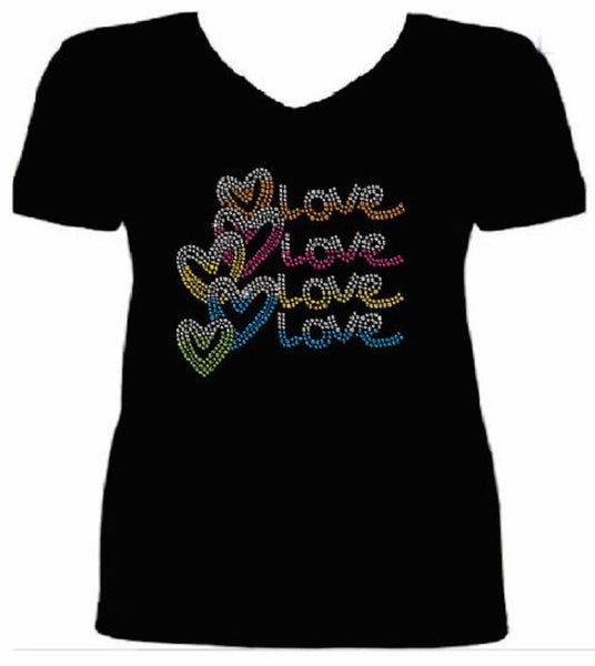Bling Valentines Day Womens LoveT Shirt CHI-429-SV