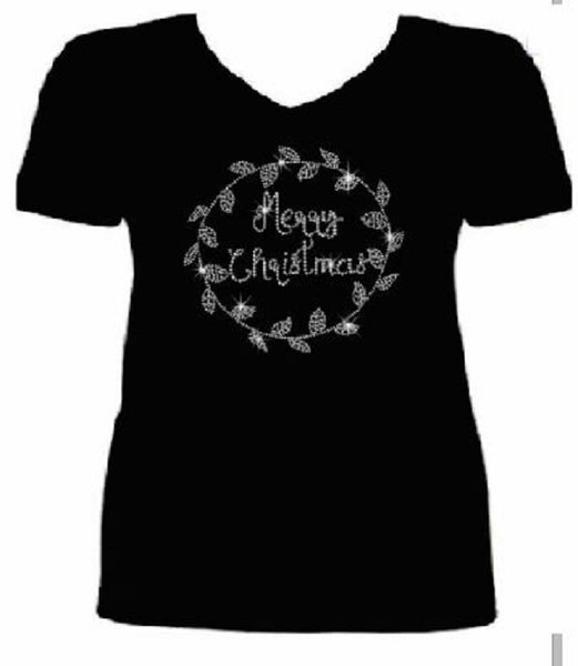 Bling Sparkling Merry Christmas Women's t shirt             XMA-444-SV