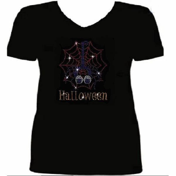 Bling Halloween Spider Women's t Shirt HAL-093-SV