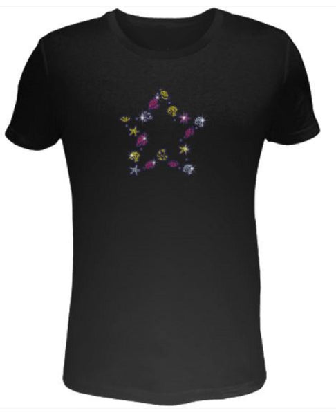 Bling Rhinestone Womens T Shirt Colorful Starfish and Shell Star- SC-BEA-097