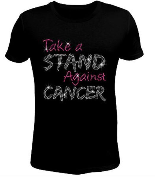 Rhinestone Womens T Shirt Breast Cancer Stand JRW-097