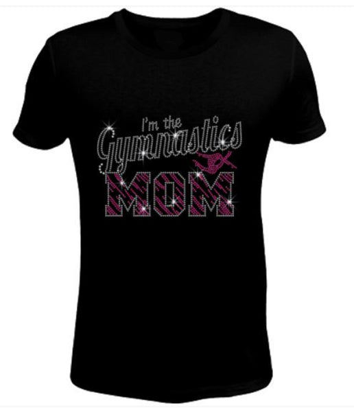 Bling Rhinestone Gymnastics Mom T-Shirt-SC-GYM-072