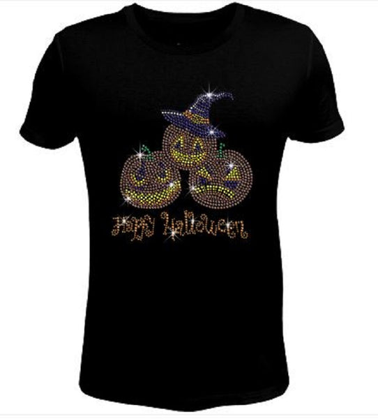 Bling Halloween with Funny Pumpkins Women's t Shirt HAL-127-SC