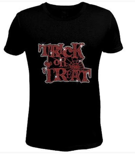 Bling Halloween Bling Trick Treat Women's t Shirt HAL-137-SC