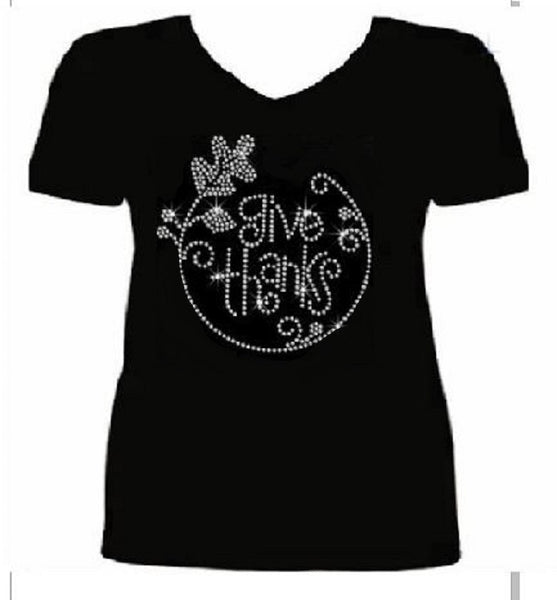 Bling Thanksgiving Give Thanks Women's t Shirt THD-050-SV