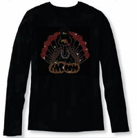 Bling Thanksgiving Turkey with Pumpkin Women's t Shirt THD-022-LR