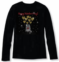 Bling Valentines Day Cat Hold The Heart  Womens T Shirt VAL-214-LC