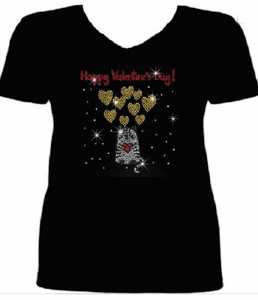 Bling Cat Hold The Heart Valentines Day Womens T Shirt VAL-214-SV