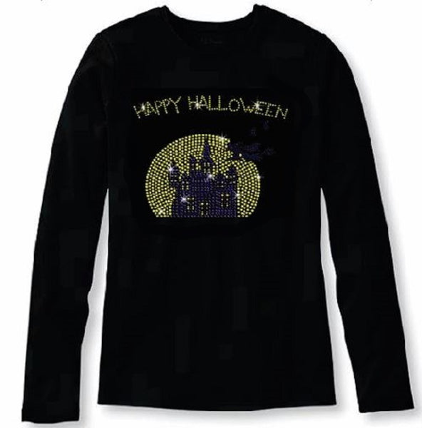 Bling Halloween Witch Flying to Castle Women's t Shirt HAL-121-LR