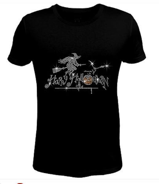 Bling Halloween with Witch Women's t Shirt HAL-119-SC