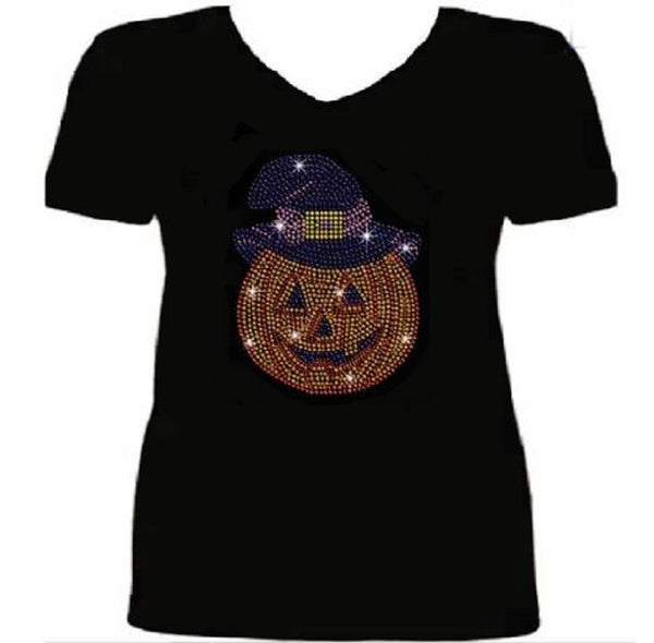 Bling Halloween Bling Pumpkin Women's t Shirt HAL-084-SV