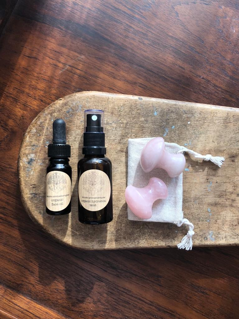 Rose Quartz Mushroom Organic Face Treatment Set