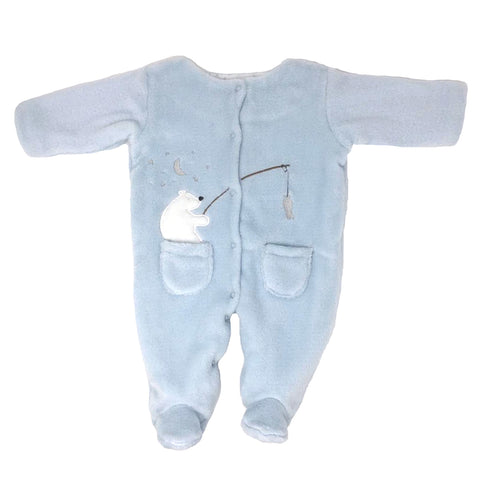POWDER BLUE FISHING POLAR BEAR FOOTED ONE-PIECE