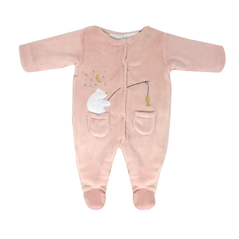 PINK FISHING POLAR BEAR FOOTED ONE-PIECE