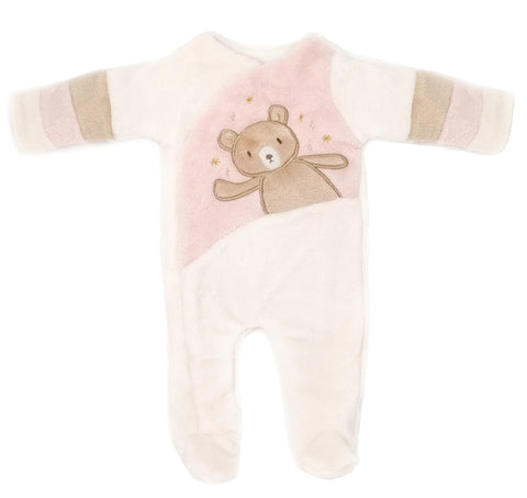 Bear Pink Crossover Footed One-Piece