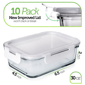 Prep Naturals Glass Food Storage Containers with Lids [30 Ounce, 20Pcs] Glass Containers for Food Storage with Lids Glass Meal Prep Containers Glass Storage Containers with Lids Glass Lunch Containers - PrepNaturals - Meal Prepping - Food Storage Containers