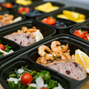 Meal Prep Containers 2 Compartment 24 Pack with Lids (and Bonus Plastic Cutlery Sets) | 32oz BPA-Free Food Storage and Portion Control by Prep Naturals