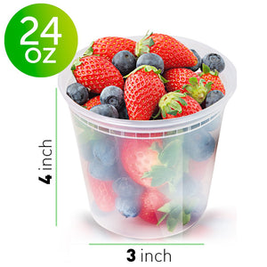 [48 Pack, 24oz] Clear Plastic Containers With Lids - Deli Containers With Lids Plastic Food Containers - Freezer Containers Meal Prep Containers for Food - Food Storage Containers by Prep Naturals