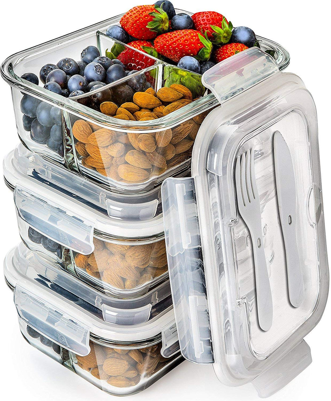 Glass Meal Prep Containers 3 Compartment - Bento Box Containers - PrepNaturals - Meal Prepping - Food Storage Containers