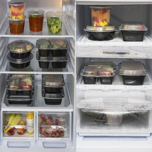 Meal Prep Containers 2 Compartment 24 Pack with Lids (and Bonus Plastic Cutlery Sets) | 32oz BPA-Free Food Storage and Portion Control by Prep Naturals - PrepNaturals - Meal Prepping - Food Storage Containers