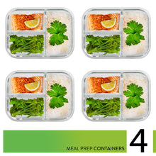 Glass Meal Prep Containers 3 Compartment - Food Containers Meal Prep Food Prep Containers Lunch Containers Glass Containers with lids Freezer Containers Bento Box Containers Bento lunch Box [4pk,34oz] - PrepNaturals - Meal Prepping - Food Storage Containers