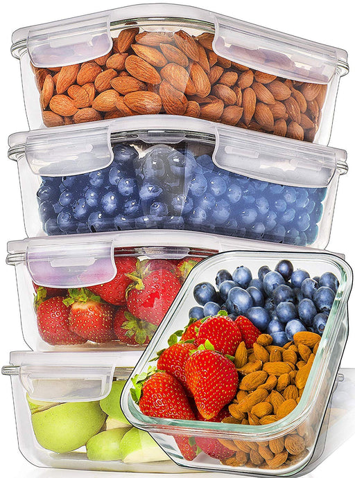Glass Meal Prep Containers - 5-Pack (36oz) - PrepNaturals - Meal Prepping - Food Storage Containers