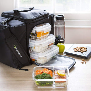 Glass Meal Prep Containers 3 Compartment - Bento Box Containers