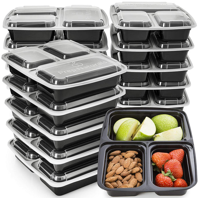 Meal Prep Containers 3 Compartment - Plastic Food Containers for Meal Prepping - Divided Lunch Containers Food Prep Containers - Reusable Food Storage Containers with lids Bento Lunch Box [15 Pack] - PrepNaturals - Meal Prepping - Food Storage Containers