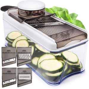 Mandoline Slicer (Adjustable) - 5 Blades - Vegetable Cutter, Peeler, Slicer, Grater & Julienne Slicer