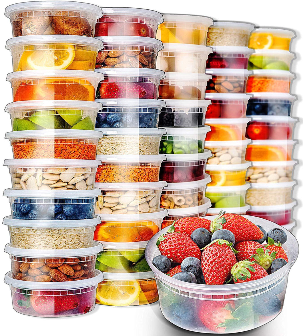 50pk 8oz Small Plastic Containers with Lids - Slime Containers with lids Freezer Containers Deli Containers with Lids - Food Containers Meal Prep Food Prep Containers Plastic Food Containers with Lids - PrepNaturals - Meal Prepping - Food Storage Containers