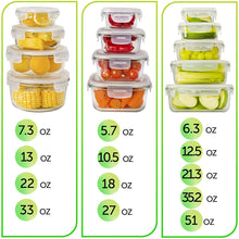 13-Pack Glass Storage Containers with Lids (3 shapes, 13 sizes)