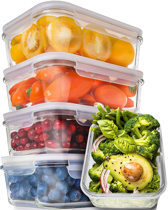 Prep Naturals Glass Meal Prep Containers - Food Prep Containers with Lids Meal Prep - Food Storage Containers Airtight - Lunch Containers Portion Control Containers Bpa-Free (5 Pack,30 Ounce) - PrepNaturals - Meal Prepping - Food Storage Containers