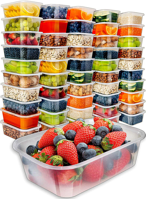 [50pk,25oz] Food Storage Containers with Lids - Food Containers Meal Prep Plastic Containers with Lids Food Prep Containers Deli Containers with Lids Freezer Containers with lids Disposable Containers - PrepNaturals - Meal Prepping - Food Storage Containers