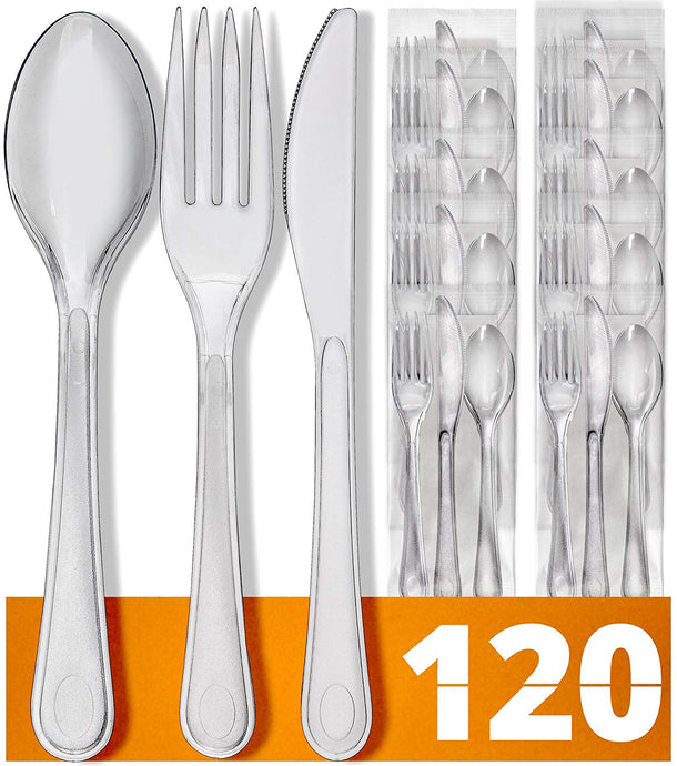 Plastic Silverware Plastic Cutlery Set - 480 Plastic Utensils Disposable Cutlery - 120 Plastic Forks, Plastic Spoons, Knives and Napkins - Party Supplies Utensil Set | Reusable Spoons and Forks Set - PrepNaturals - Meal Prepping - Food Storage Containers
