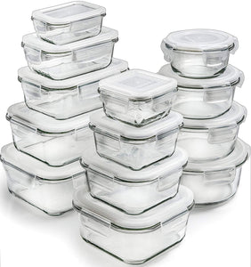 13-Pack Glass Storage Containers with Lids (3 shapes, 13 sizes) - PrepNaturals - Meal Prepping - Food Storage Containers