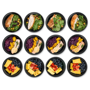 Round Meal Prep Containers Set - Portion Control Bento Box- Food Storage/Restaurant Foodsavers - 12pk - PrepNaturals - Meal Prepping - Food Storage Containers
