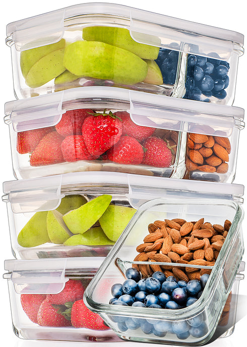 Prep Naturals Glass Meal Prep Containers Glass 2 Compartment 5 Pack - Glass Food Storage Containers - Glass Storage Containers with Lids - Divided Glass Lunch Containers Glass Cupcake Carries 29 Ounce - PrepNaturals - Meal Prepping - Food Storage Containers