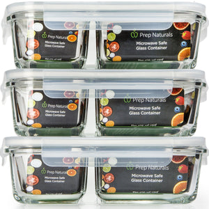 Glass Meal Prep Containers 2 Compartment - 3 Pack - PrepNaturals - Meal Prepping - Food Storage Containers