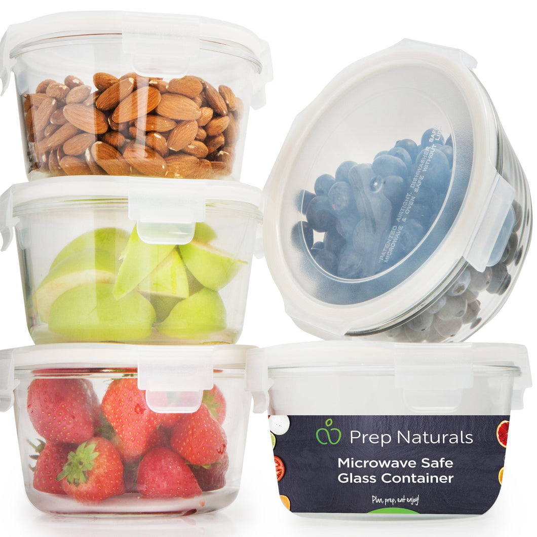 [5-Pack] Glass Meal Prep Containers Glass Round - PrepNaturals - Meal Prepping - Food Storage Containers