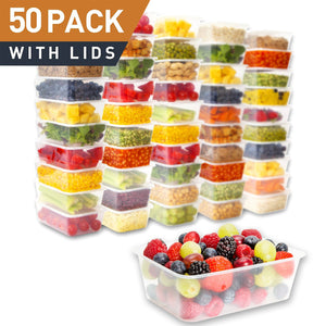 50 Plastic Food Storage Containers with Lids - PrepNaturals - Meal Prepping - Food Storage Containers