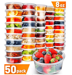 50pk 8oz Small Plastic Containers with Lids - PrepNaturals - Meal Prepping - Food Storage Containers