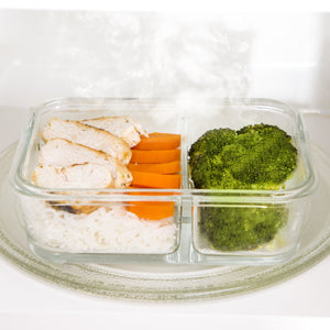 Glass Meal Prep Containers 2 Compartment - [5 Pack] - PrepNaturals - Meal Prepping - Food Storage Containers