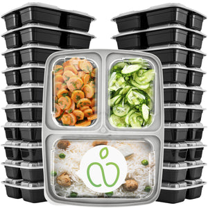 Meal Prep Plastic Containers 3 Compartment - [15-Pack] - PrepNaturals - Meal Prepping - Food Storage Containers
